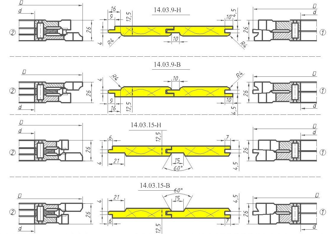 Комплект фрез для вагонки ди 14-03-09