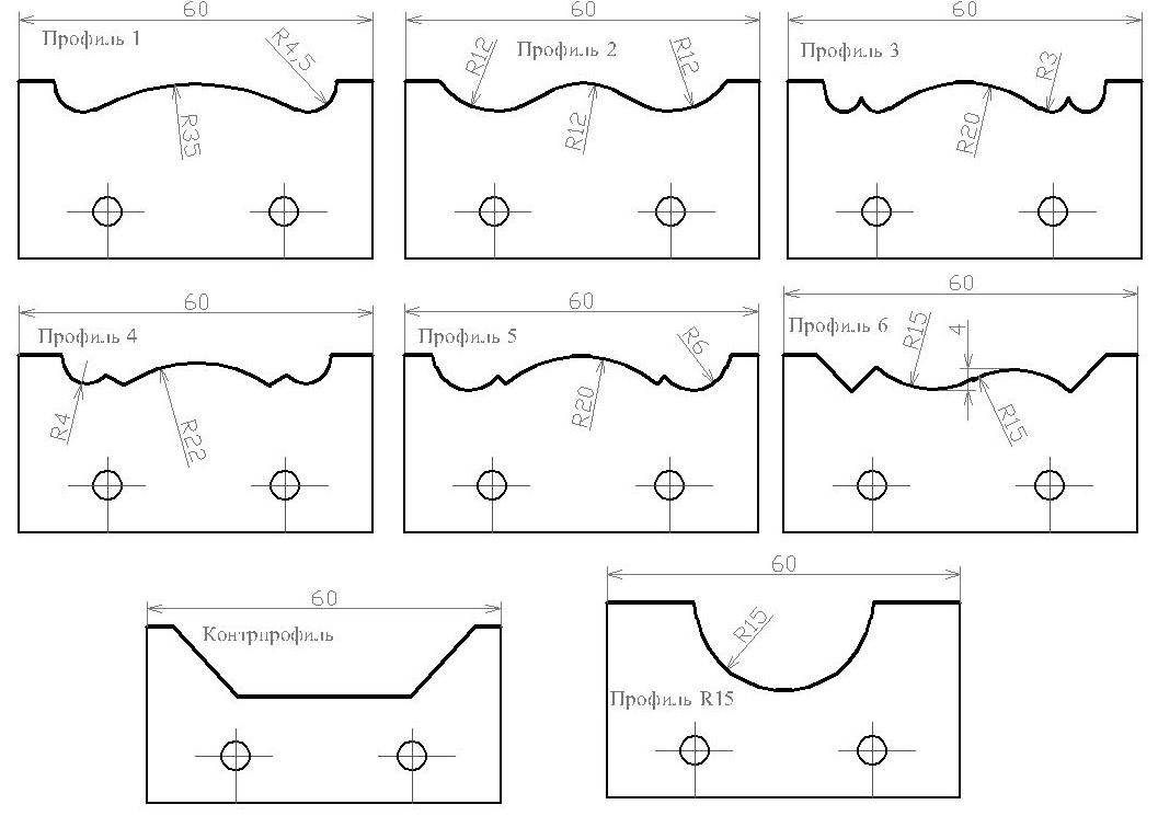 Параметры сборных фрез для реечного плинтуса ДИ-61