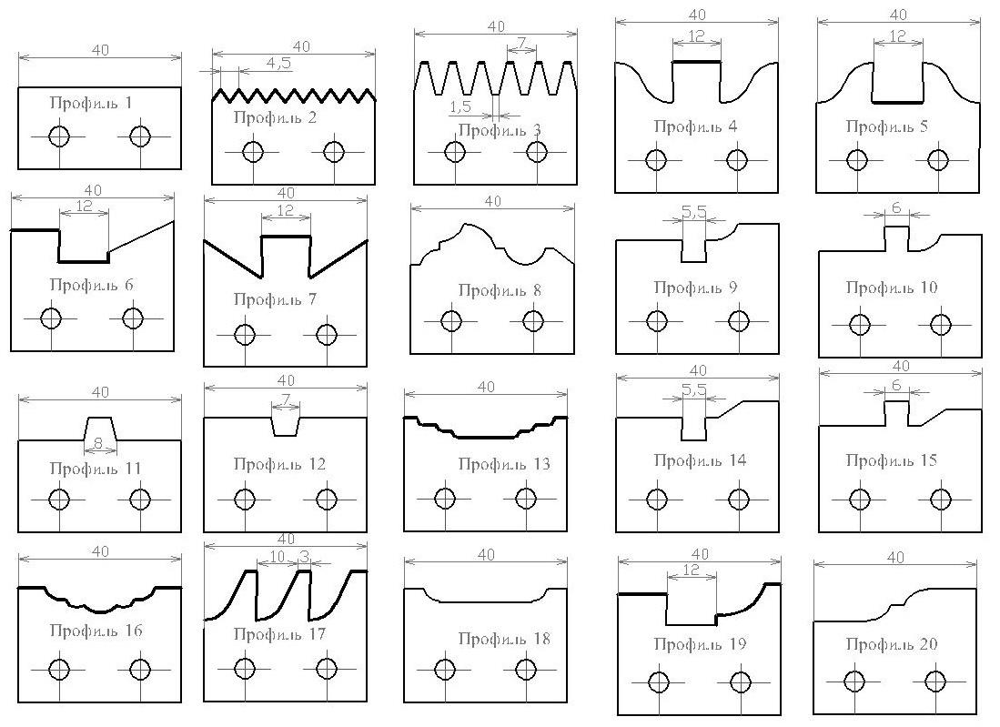 Профиль сборных фрез ди-60
