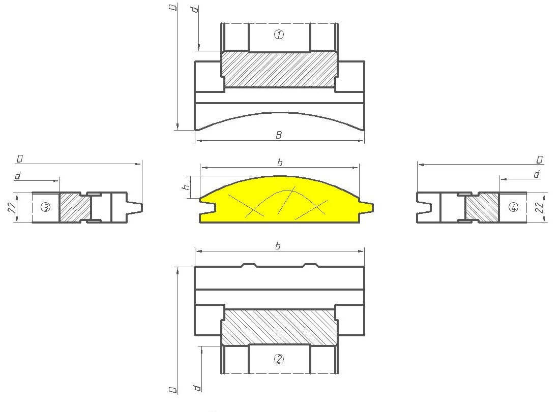 Фрезы для изготовления радиусного стенового бруса ДИ-30.00