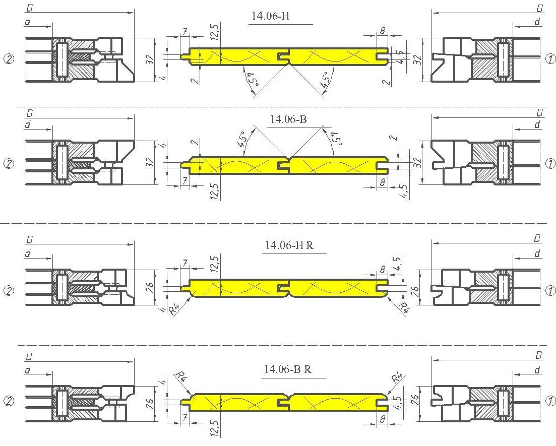 Комплект фрез для изготовления вагонки ди-14.06