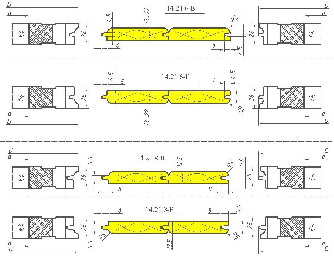 Комплект фрез для изготовления вагонки ди-14.21