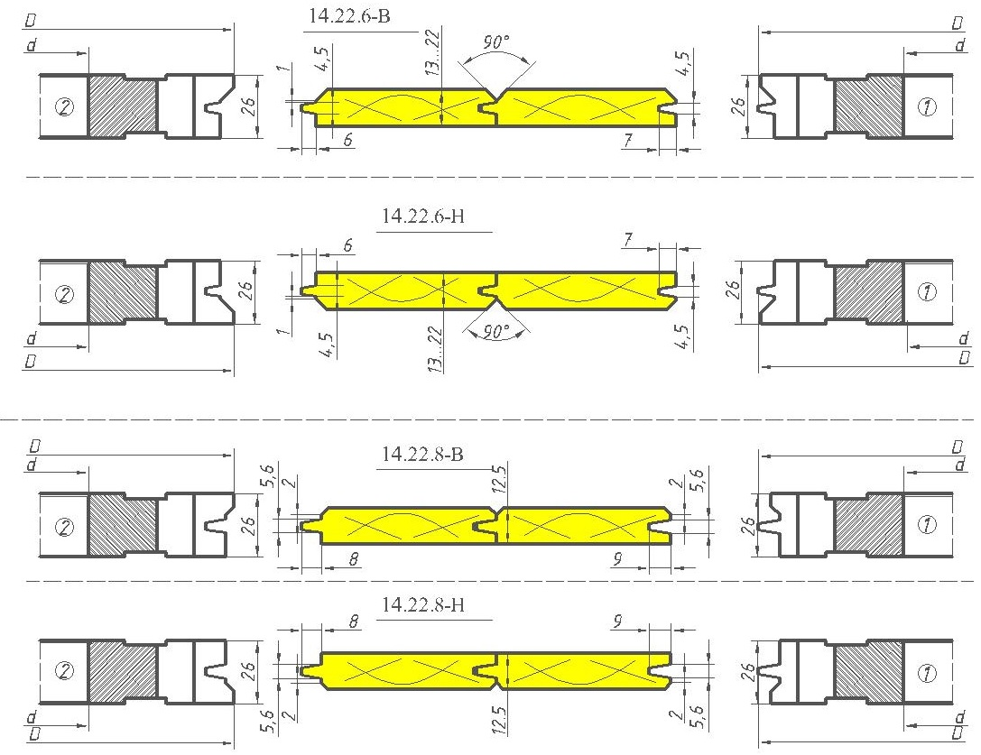 Комплект фрез для изготовления вагонки ди-14.22