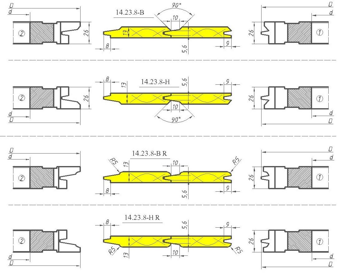 Комплект фрез для изготовления вагонки ди-14.23.8 евро