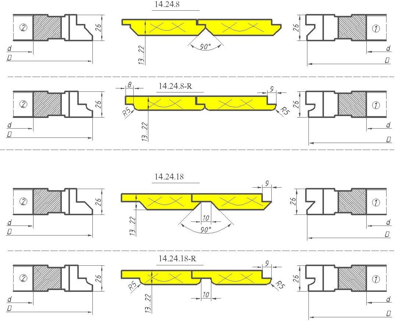 Комплект фрез для изготовления вагонки ди-14.24