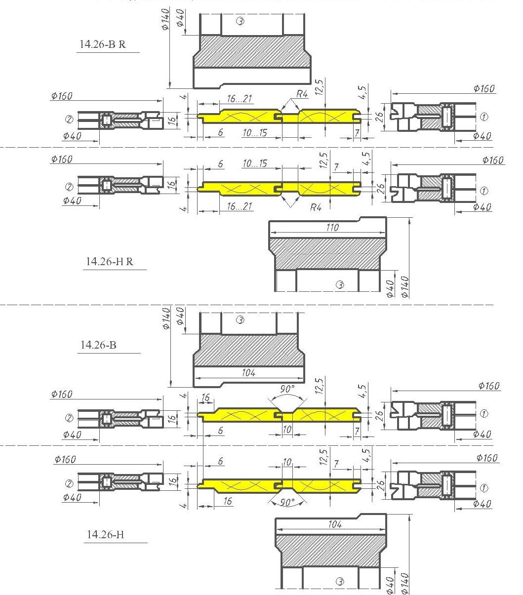 Комплект фрез для изготовления вагонки ди-14.26 евро