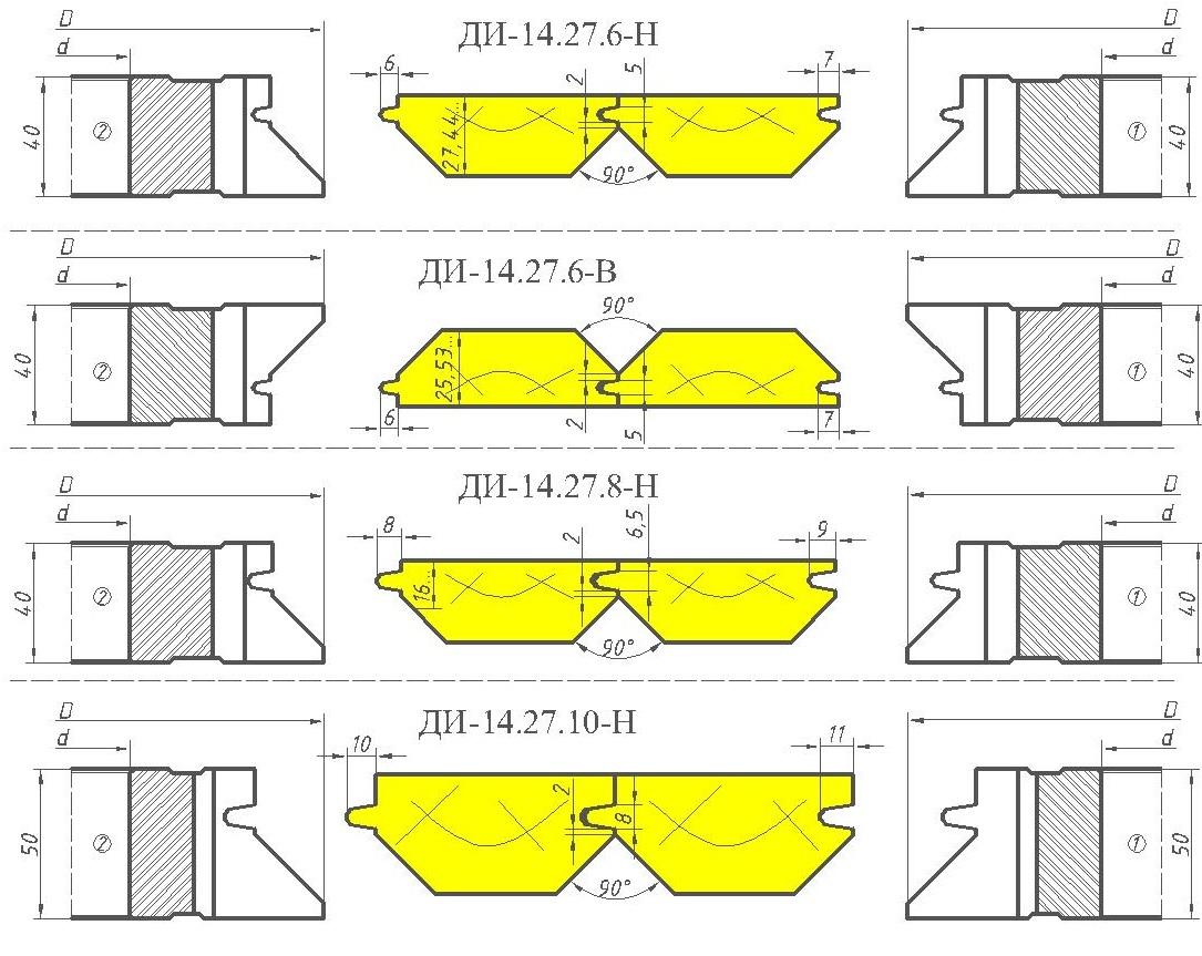 Комплект фрез для изготовления вагонки ди-14.27